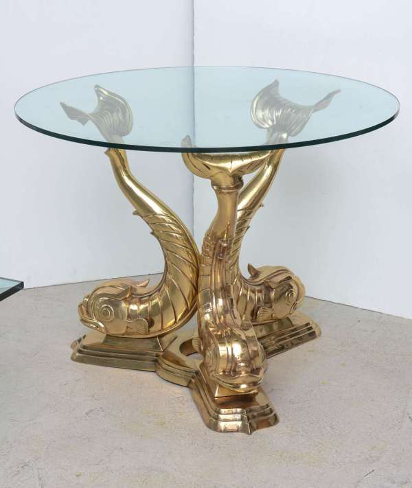 Brass Dolphin Center Table 1stdibs