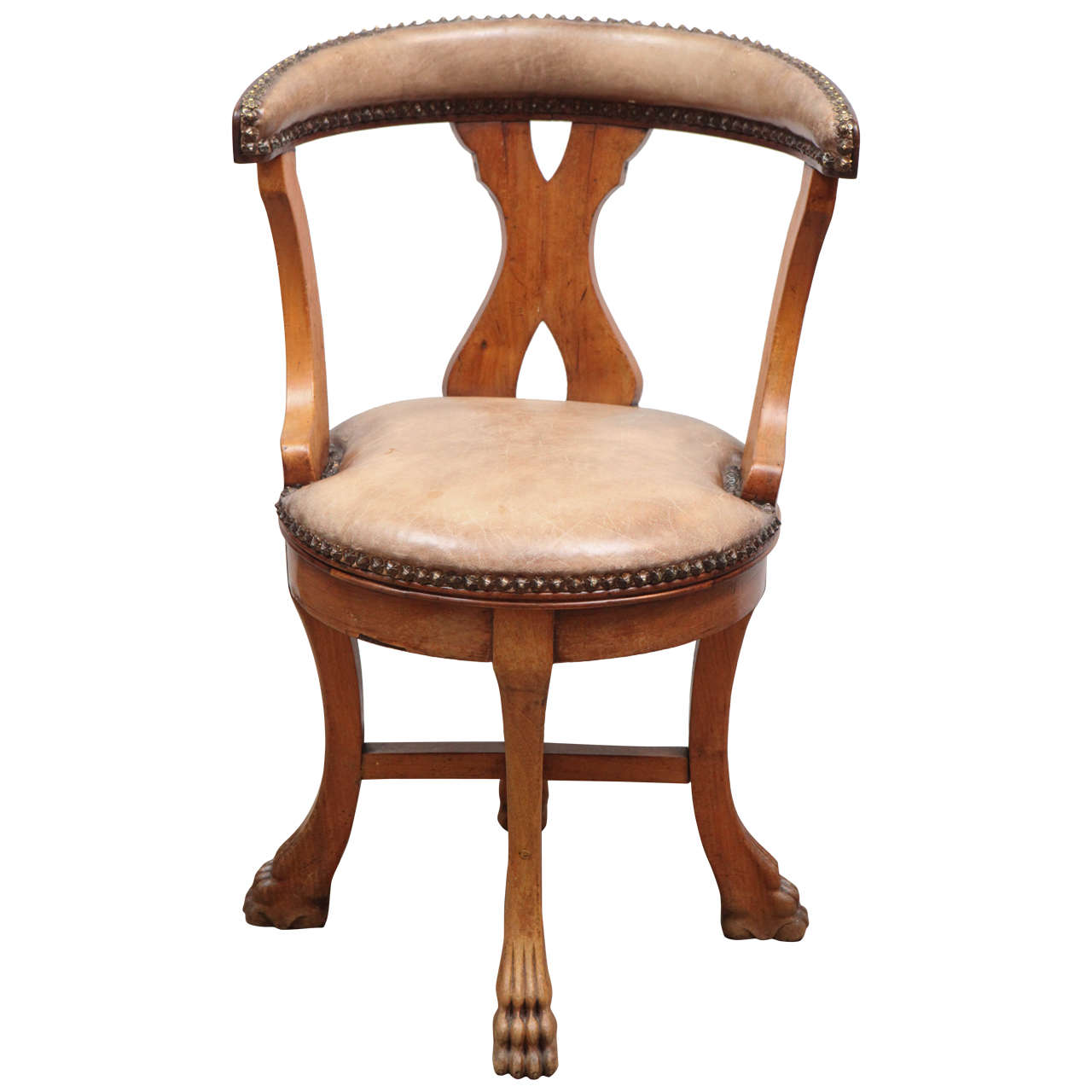 leather swivel barrel chair shipping a across country 19th century single french walnut and