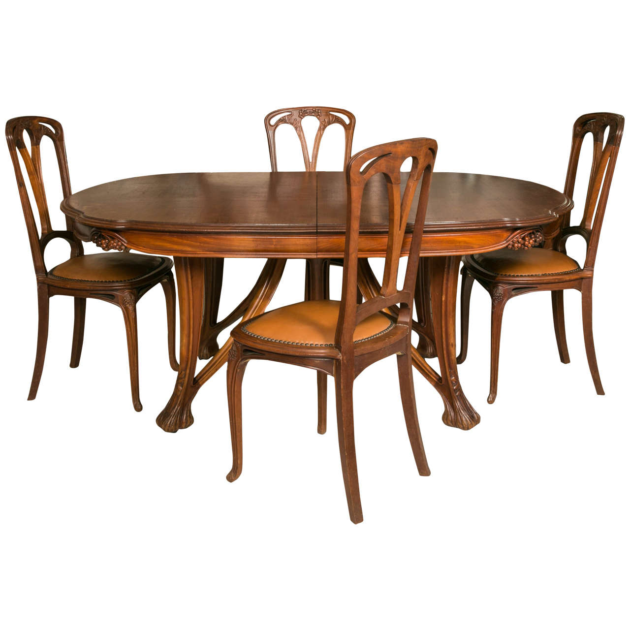 12 Chairs Art Nouveau Mahogany Table And 12 Chairs Decorated With