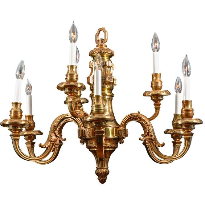 Nine Light Simple Georgian Cast Brass Chandelier 1