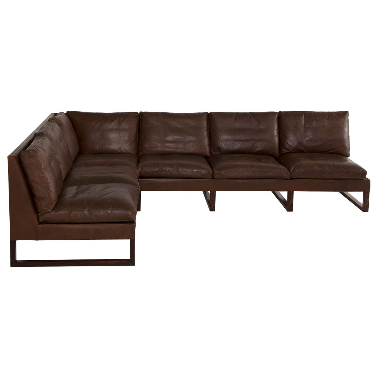 dark brown leather chair clear plastic danish mid century cornersofa in at 1stdibs for sale