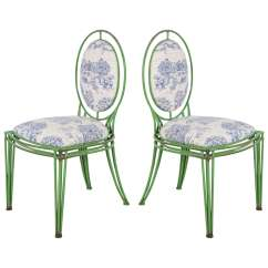 Oval Back Dining Chairs Steelcase Cobi Chair Green Metal And Toile Two
