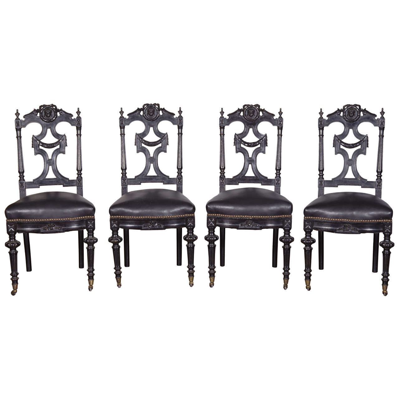 Set Of Four 19th C Ebonized Side Chairs For Sale At 1stdibs