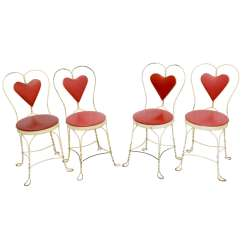 Ice Cream Parlor Chairs Hanging Basket Set Of 4 Antique At 1stdibs