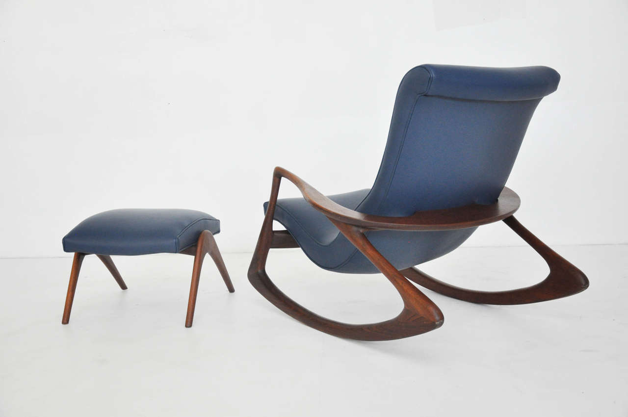 vladimir kagan rocking chair leather strap mid century modern with ottoman at 1stdibs
