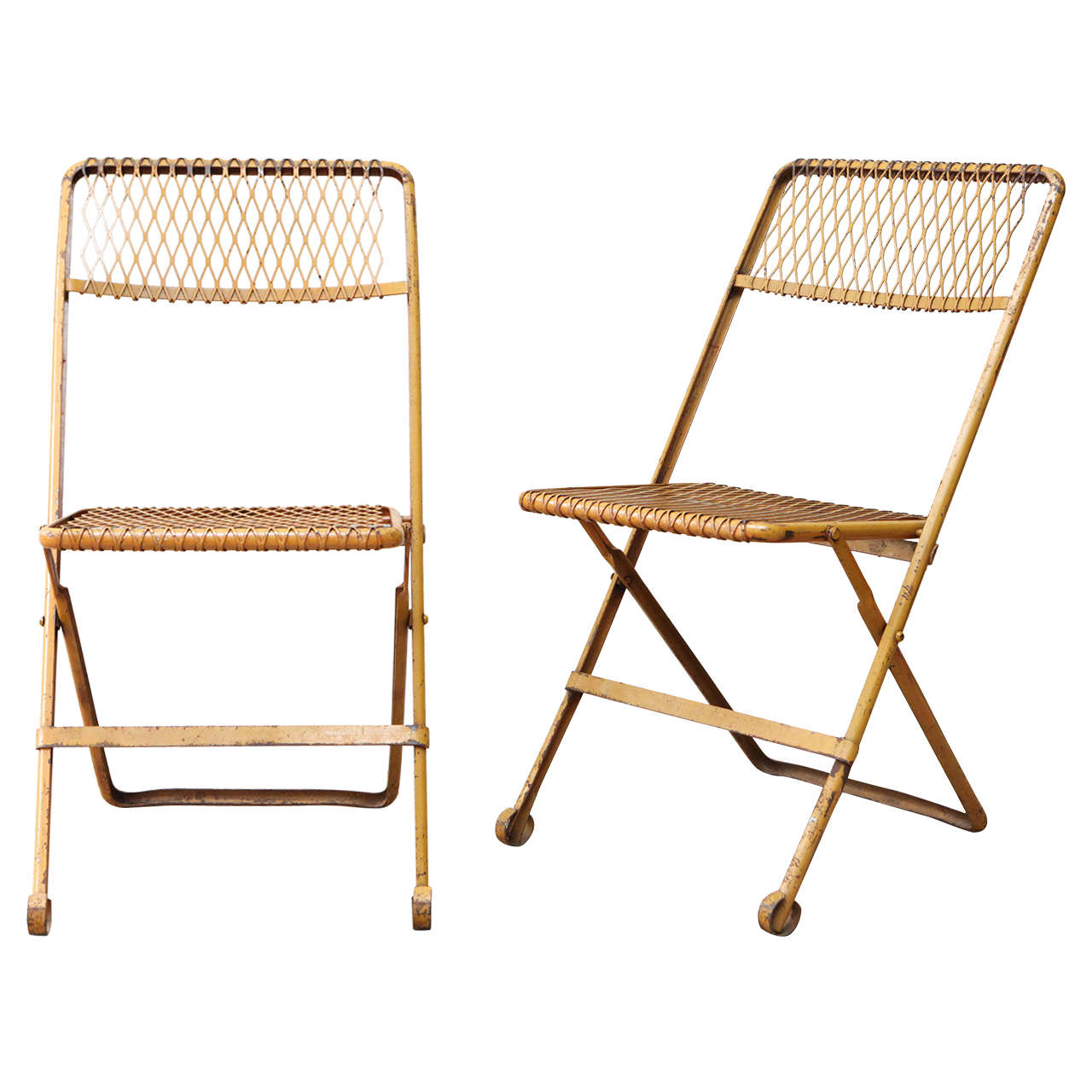 folding chair yellow padded butterfly pair of metal chairs at 1stdibs