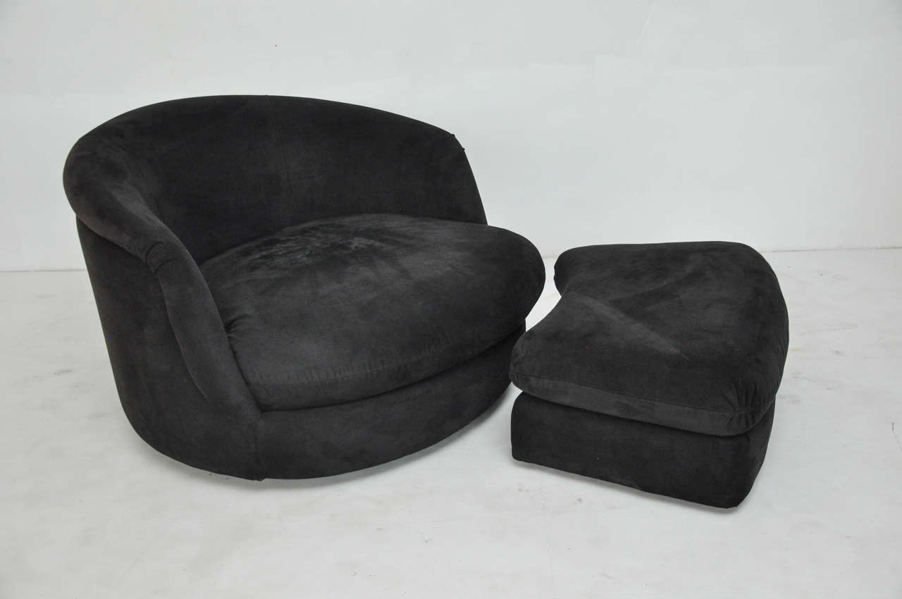swivel chair large armless leather milo baughman with rolling ottoman for