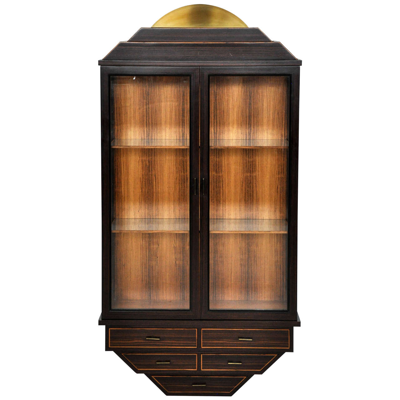 Exotic Rosewood and Brass Wall Hanging Curio Cabinet at