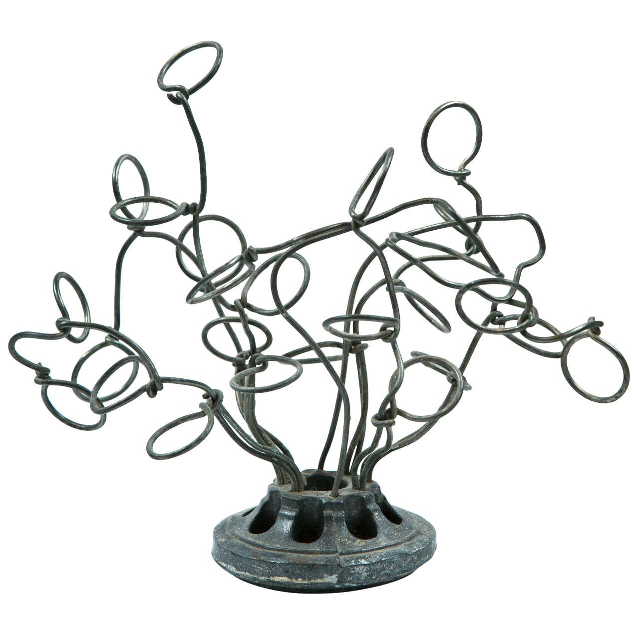 'curly' metal garden flower frog at 1stdibs