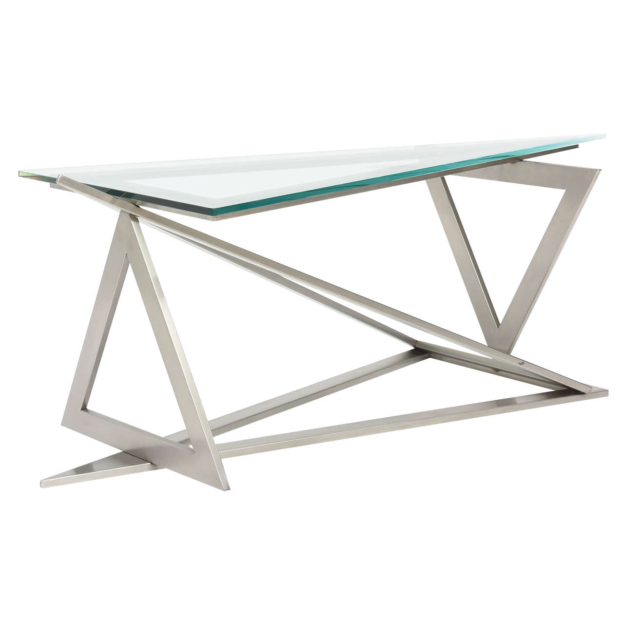 italian modern stainless steel and glass table attributed to giovanni offredi