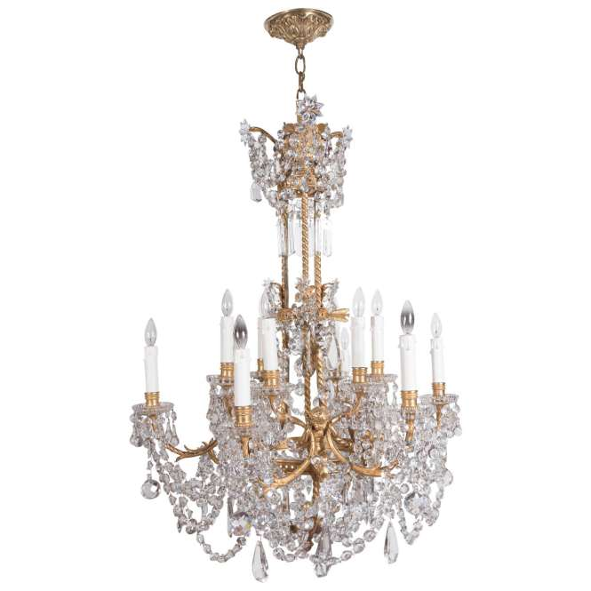 French Louis Xvi Style Three Tier Gilt Bronze And Crystal Baccarat Chandelier For