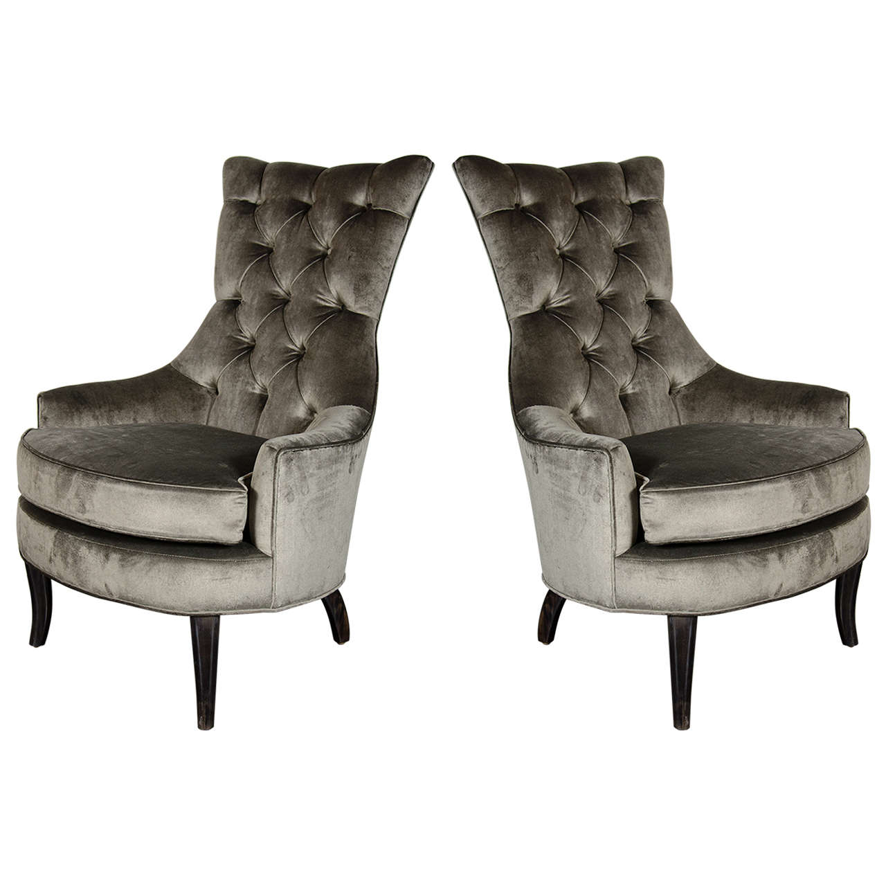 Tufted High Back Chair Pair Of Mid Century Modern Tufted High Back Chairs In Smoked Platinum Velvet