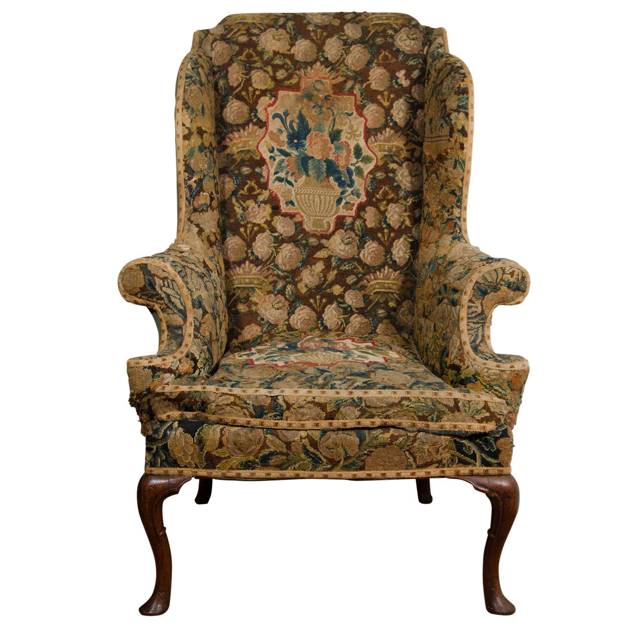 queen anne wingback chair leather fabrics for covering chairs english walnut wing at 1stdibs