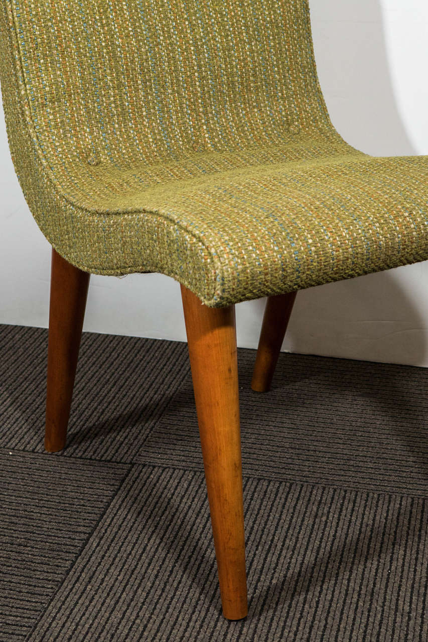 Green Upholstered Chair Set Of Four Midcentury Green Upholstered Dining Chairs By Russel Wright