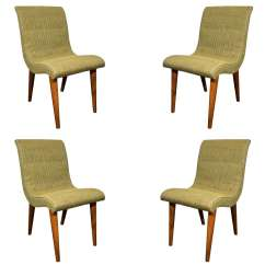 Green Upholstered Dining Chairs Fishing Chair Shade Set Of Four Midcentury By