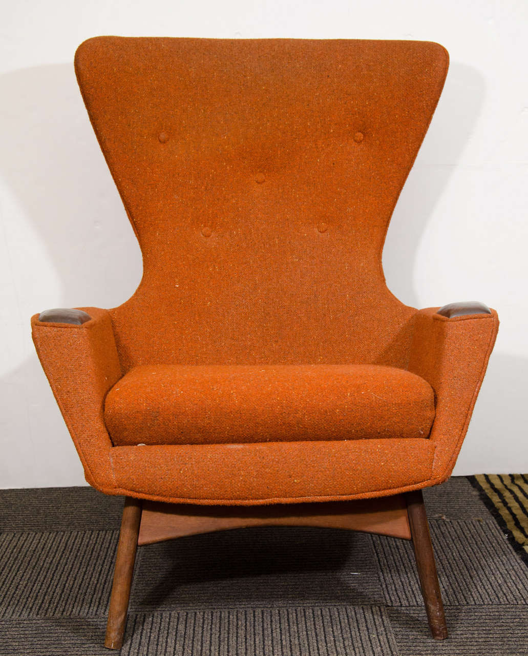 Orange Wingback Chair Midcentury High Back Wing Chair By Adrian Pearsall At 1stdibs