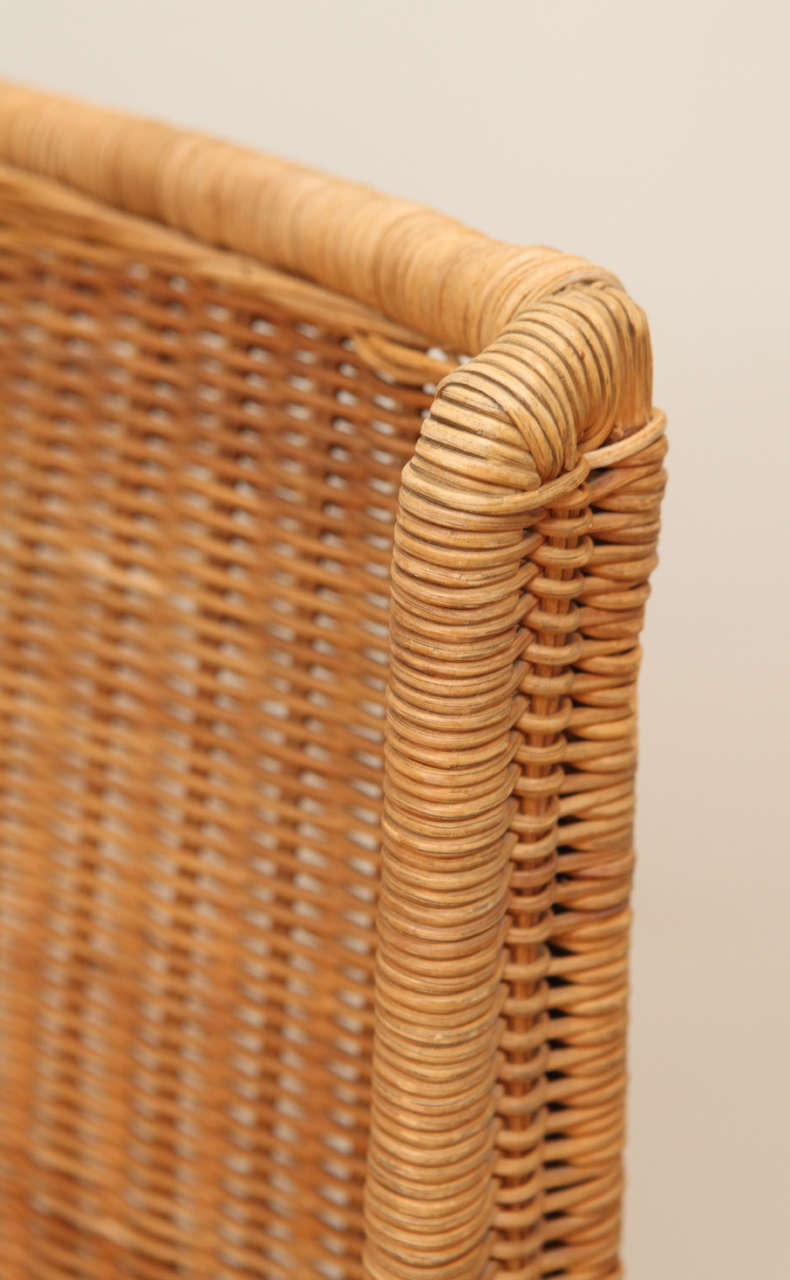 bamboo cane back chairs skull chair for sale six rattan with striped cushions at 1stdibs