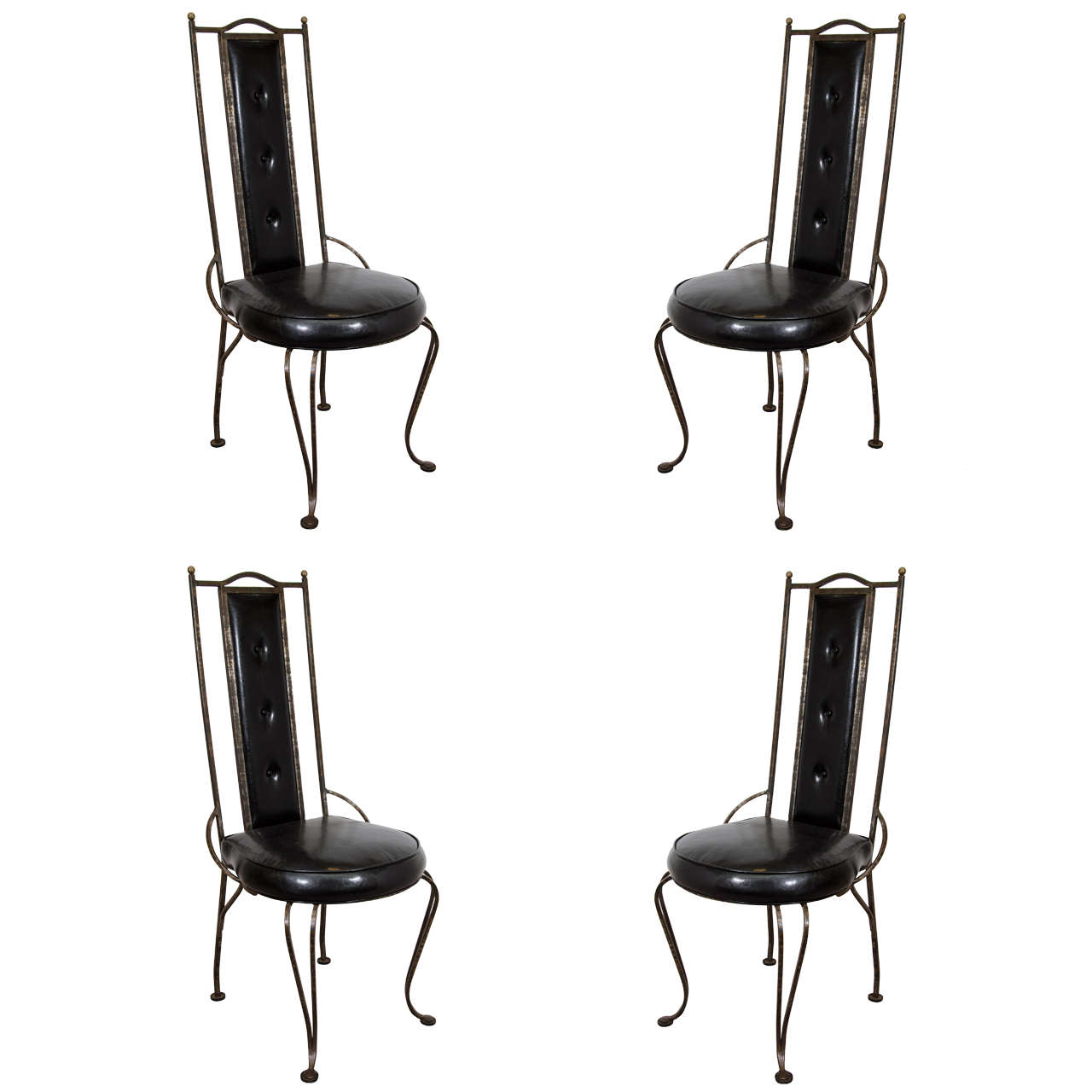 wrought iron dining chairs wedding chair covers pontefract a set of four mid century at 1stdibs for sale