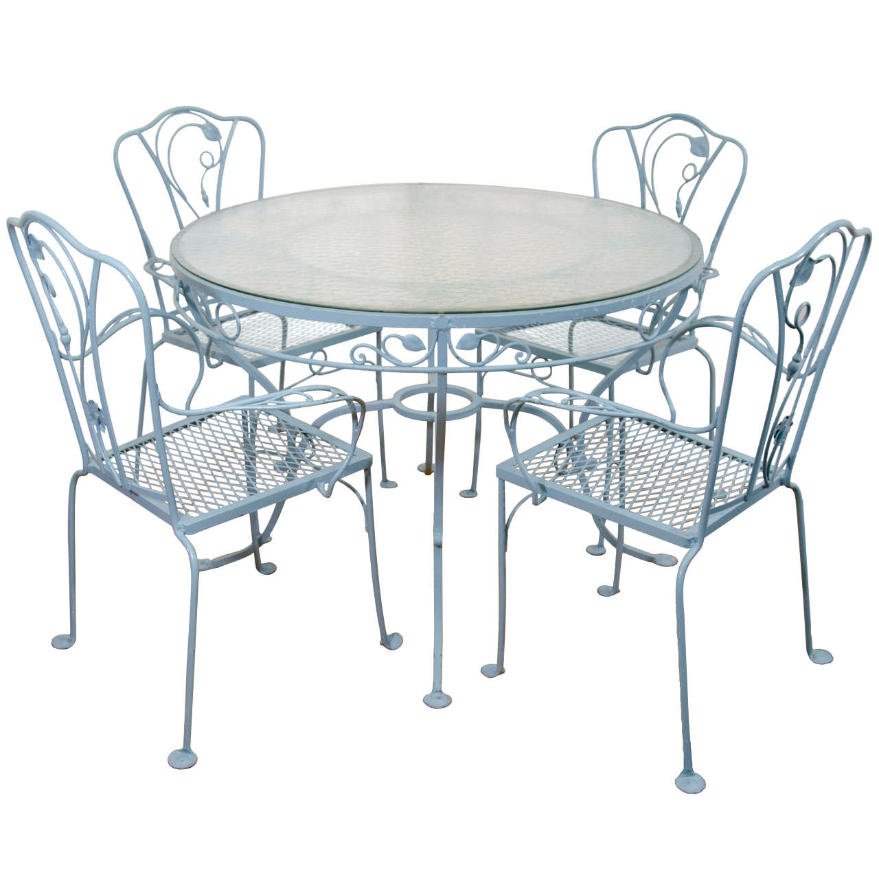 vintage salterini wrought iron table and chairs in powder blue