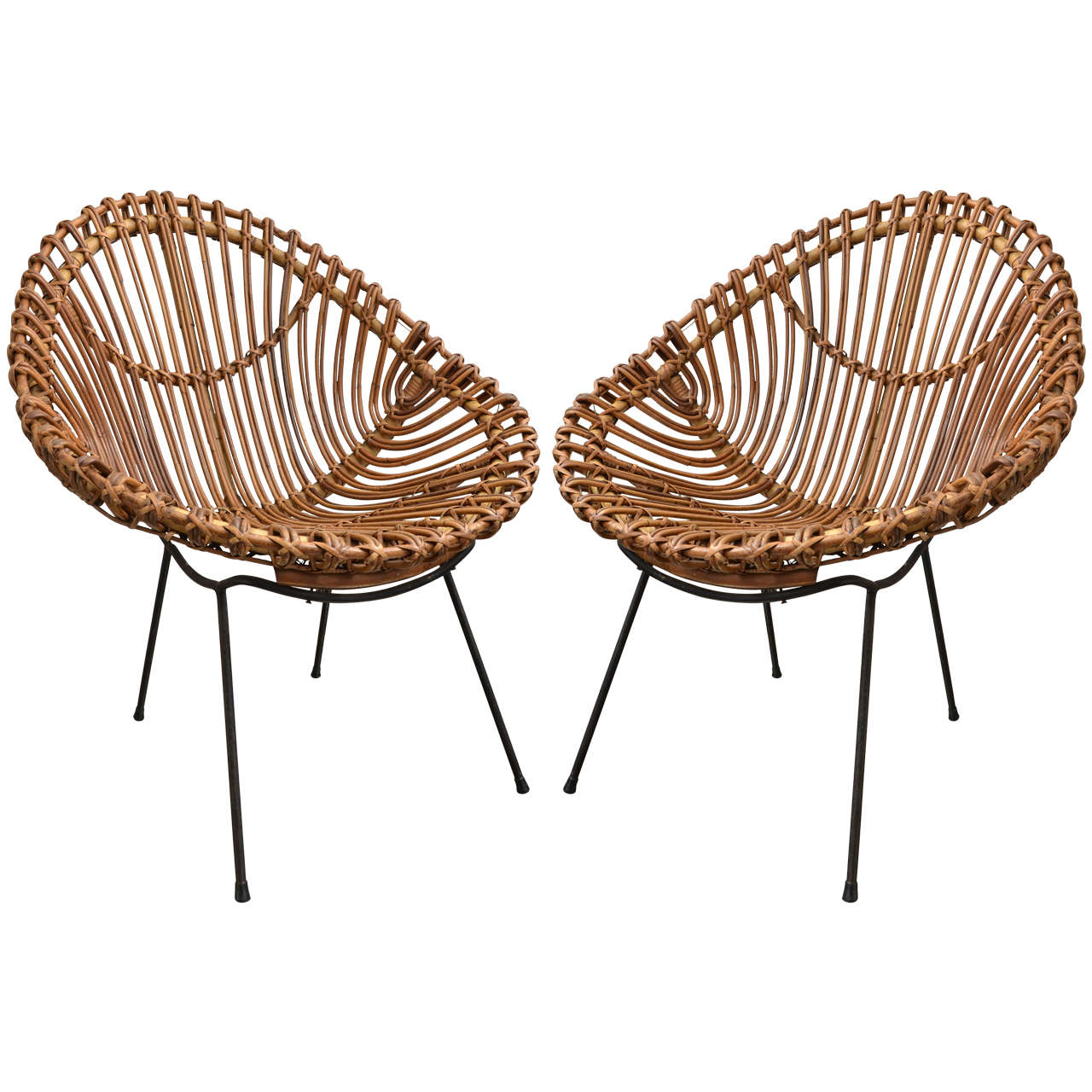 Bamboo Chairs Pair Of Bamboo Chairs In The Style Of Franco Albini