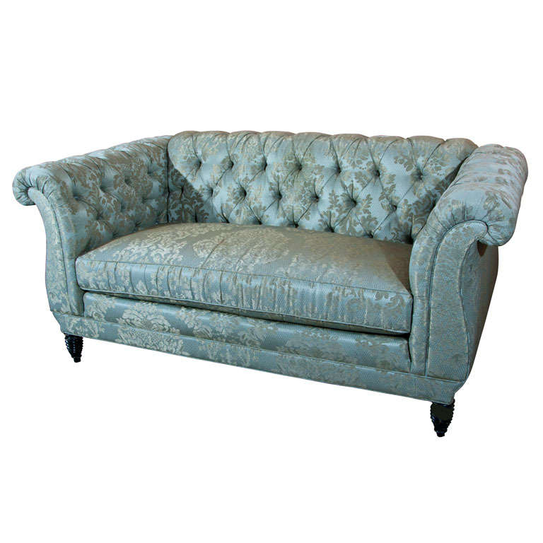 tufted leather sofa with rolled arms envelope lk hjelle english georgian style loveseat at 1stdibs
