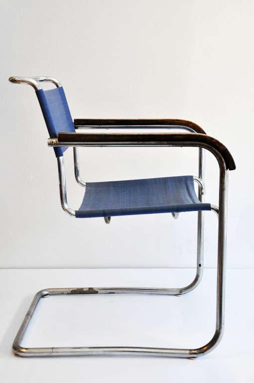 marcel breuer cesca chair with armrests wooden arm b34 armchair, bauhaus at 1stdibs