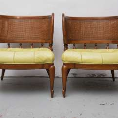 Mid Century Modern Cane Barrel Chairs Chaise Arm Chair Pair Of Gorgeous Mcm Caned Back 1950s At