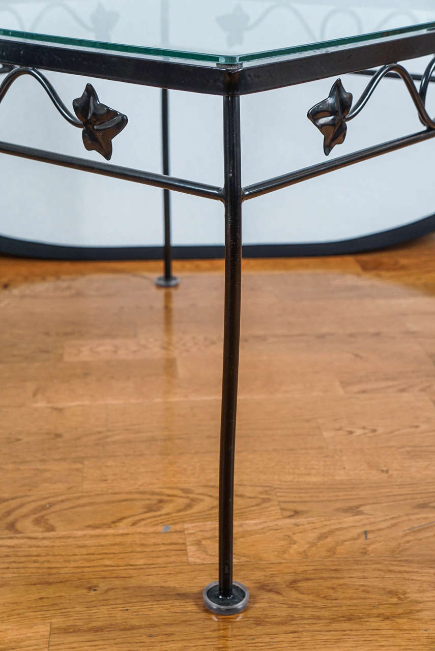 Black Wrought Iron Side Table For Sale at 1stdibs