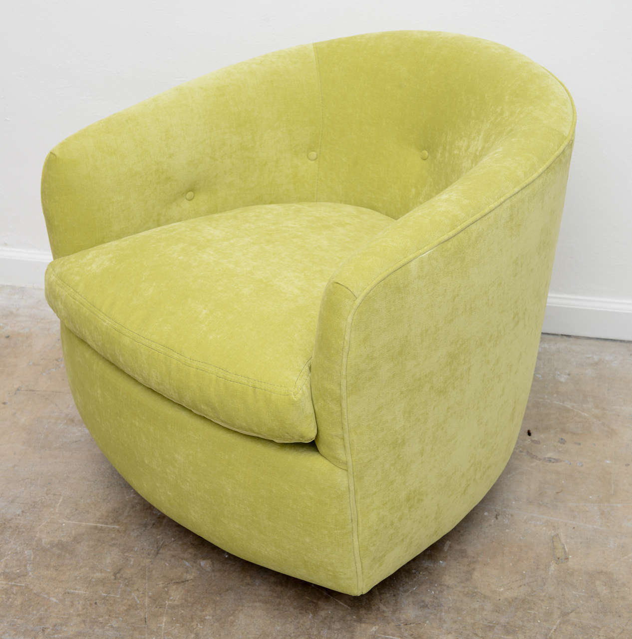 green velvet swivel chair seat pads for wicker chairs milo baughman pair of fabulous barrel at 1stdibs