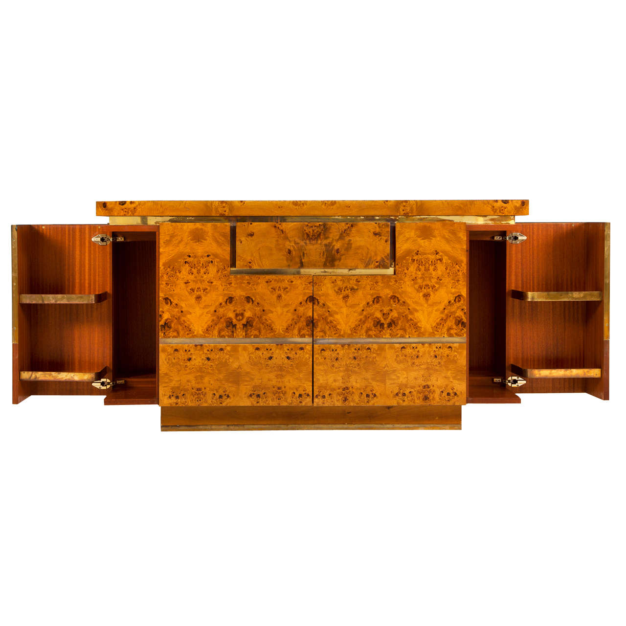 Burl Wood And Brass Bar Console By Jean Claude Mahey At 1stdibs
