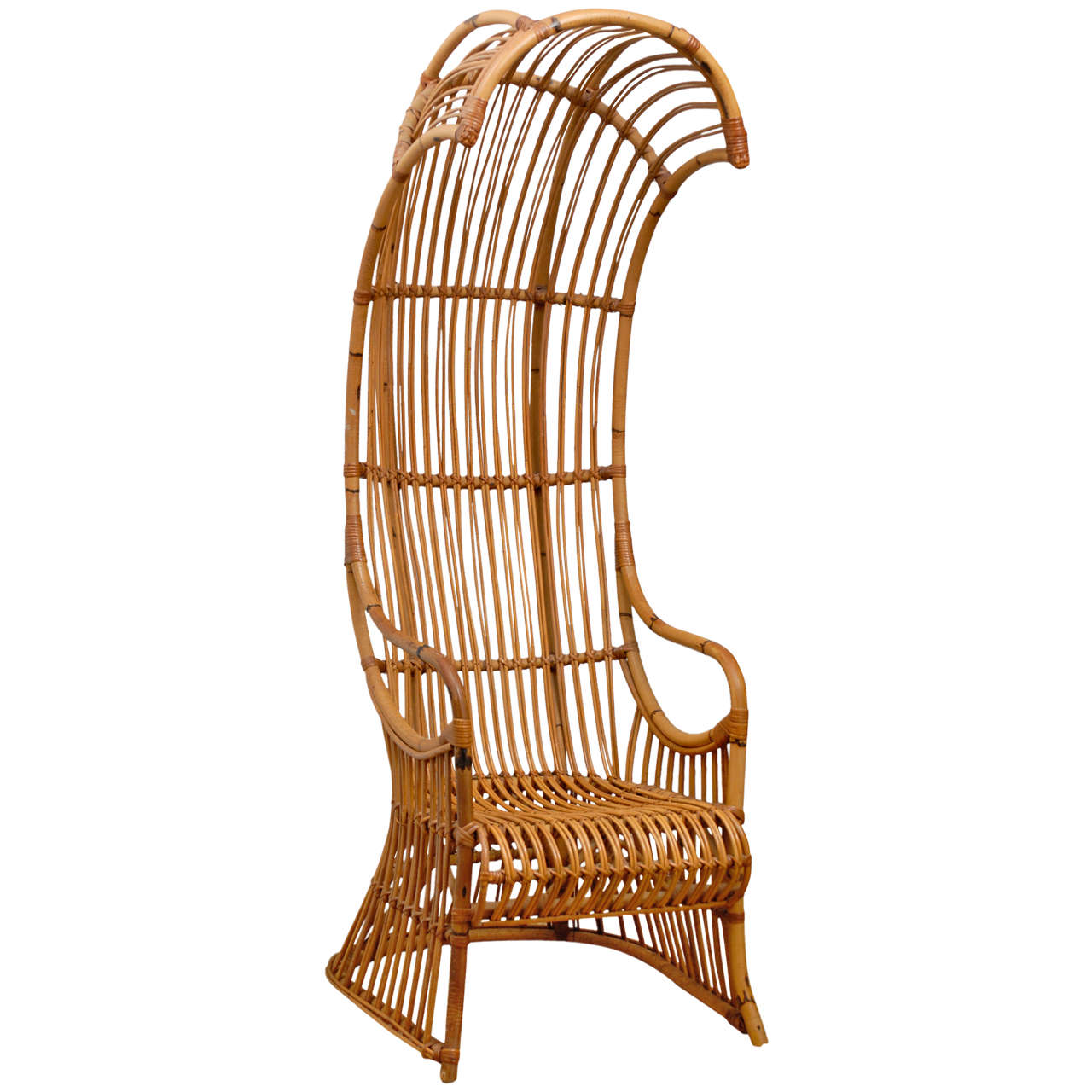 Hooded Chair Rattan Hooded Chair At 1stdibs