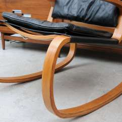 Rocking Chair Leather And Wood Fire Pit Table With Chairs Sculptural 70 S At 1stdibs