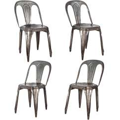 Metal Stackable Chairs French Country Dining Table And Set Of Four Stacking By Tolix For Sale At 1stdibs