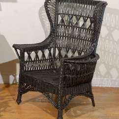 Antique High Back Wicker Chairs Knock Off Eames Chair American Wing With Magazine Pocket At