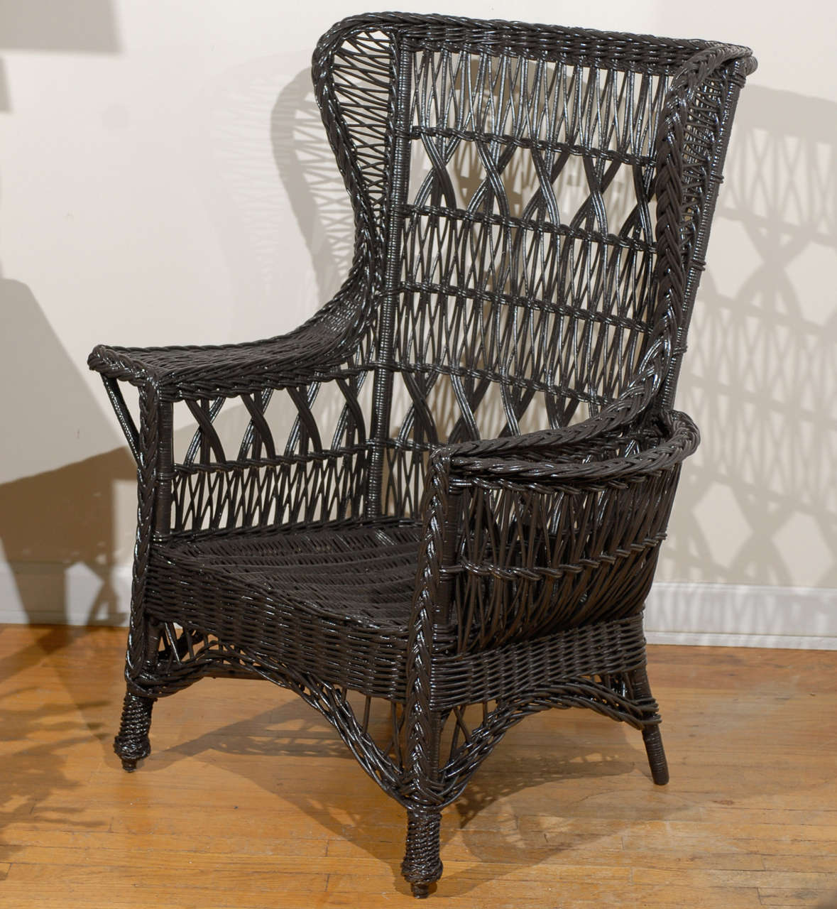 Antique Wicker Chairs Antique American Wicker Wing Chair With Magazine Pocket At