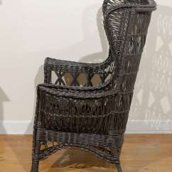 Wicker Wingback Chairs Chair Covers For Sale In Nj Antique American Wing With Magazine Pocket At