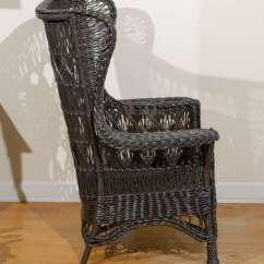 Antique High Back Wicker Chairs 2 Person Table And American Wing Chair With Magazine Pocket At