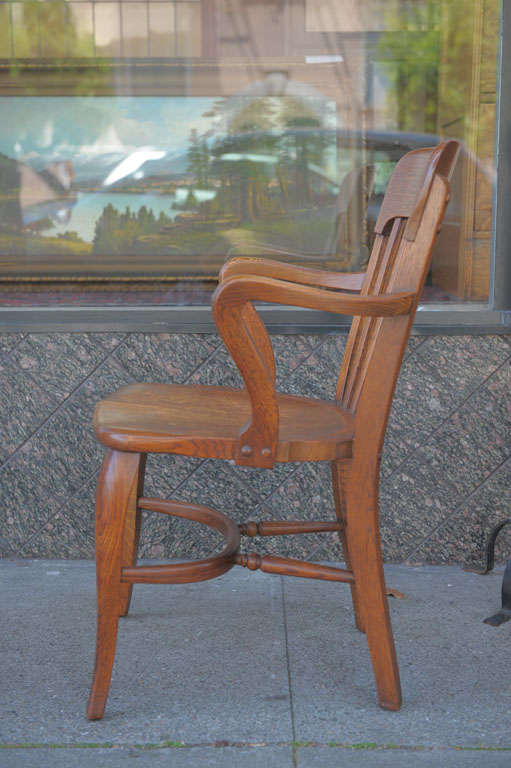 office chair not revolving chocolate dining chairs pair of oak chairs, signed ford and johnson at 1stdibs