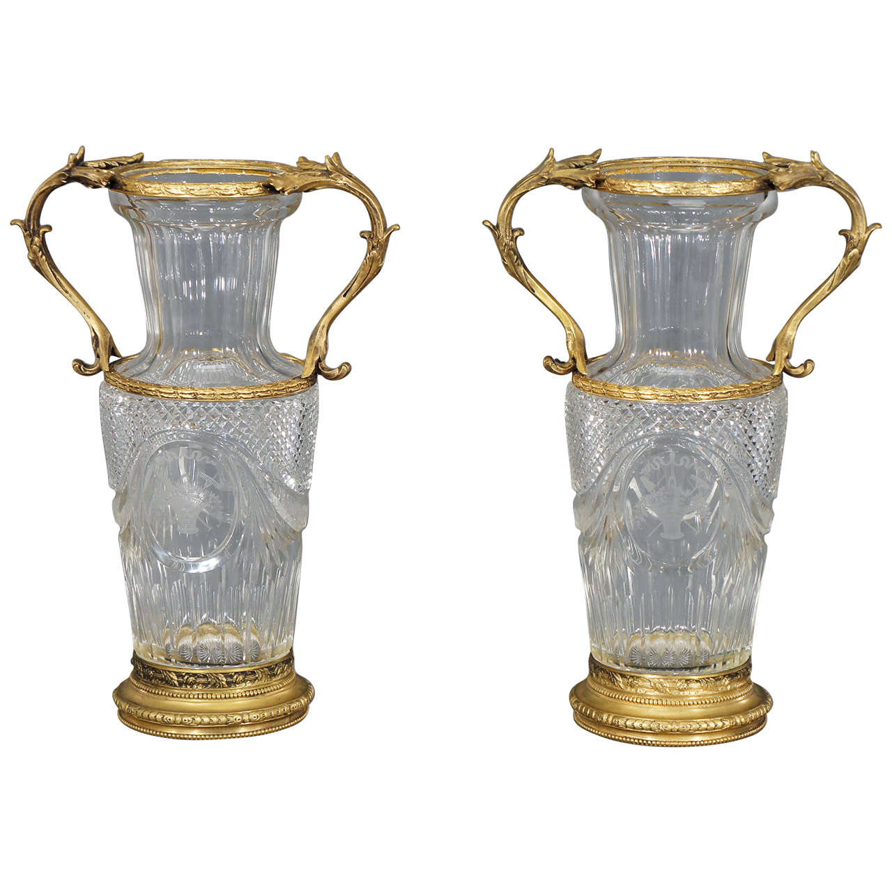 pair of baccarat handblown