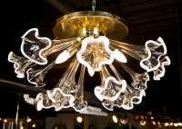 Brass and glass Murano Flushmount Light Fixture at 1stdibs
