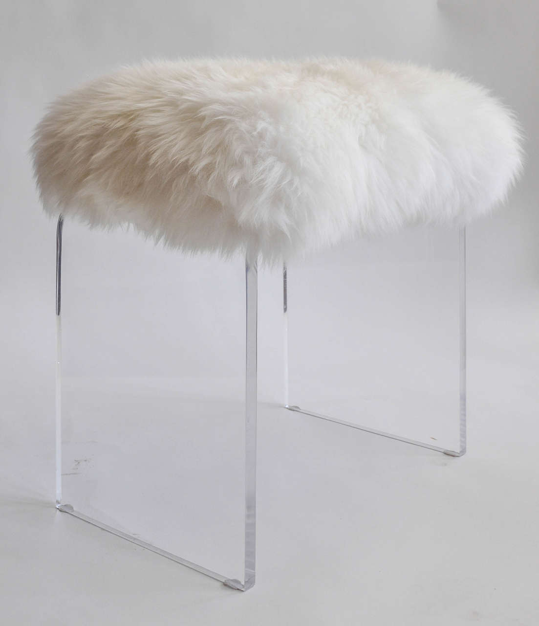 vanity chair white fur little tikes swivel vintage lucite stool with faux topper at 1stdibs
