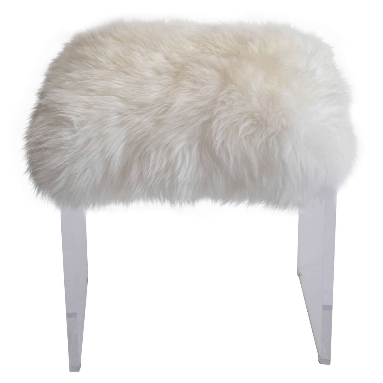 vanity chair white fur scandinavian design vintage lucite stool with faux topper at 1stdibs