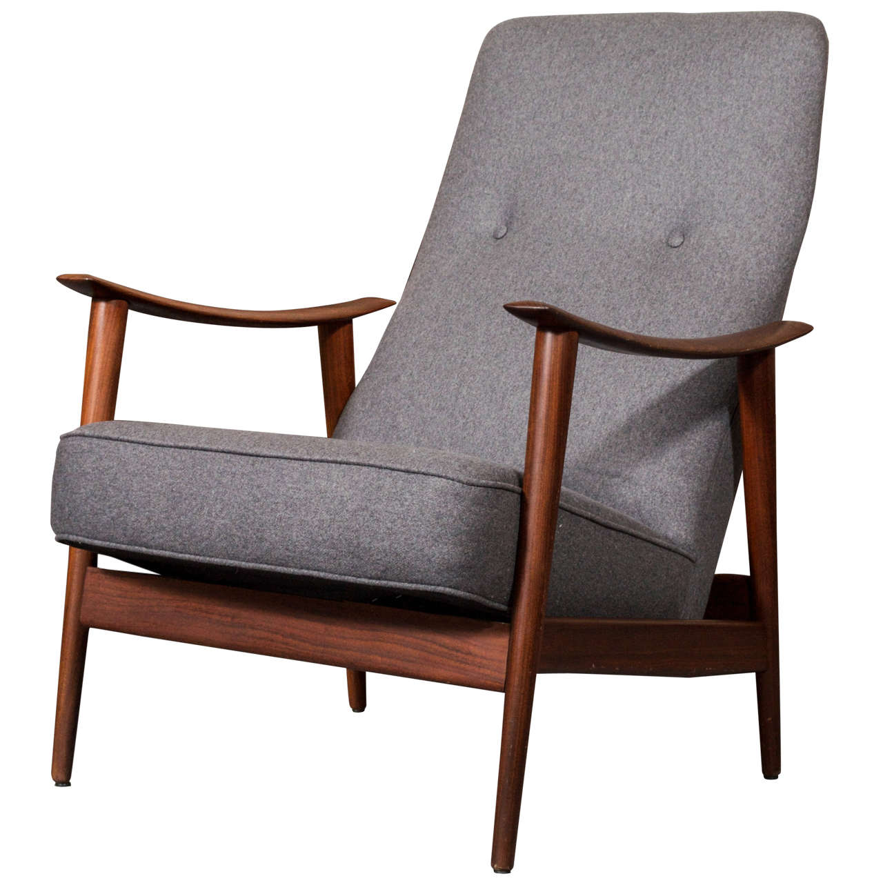 teak lounge chair red club and ottoman 1960 39s scandinavian rocking in gray wool