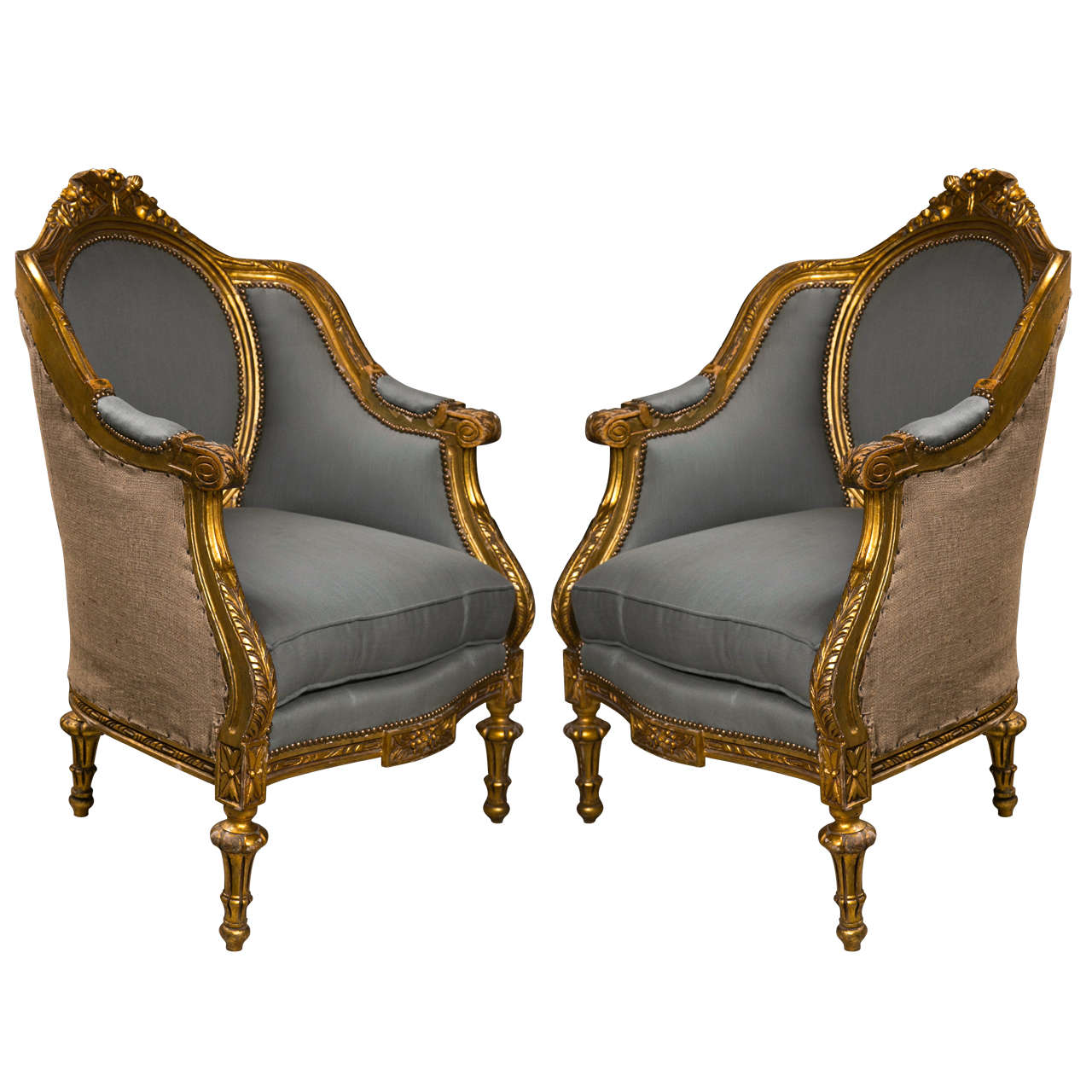 french louis chair vintage designer chairs pair of xvi style bergere at 1stdibs