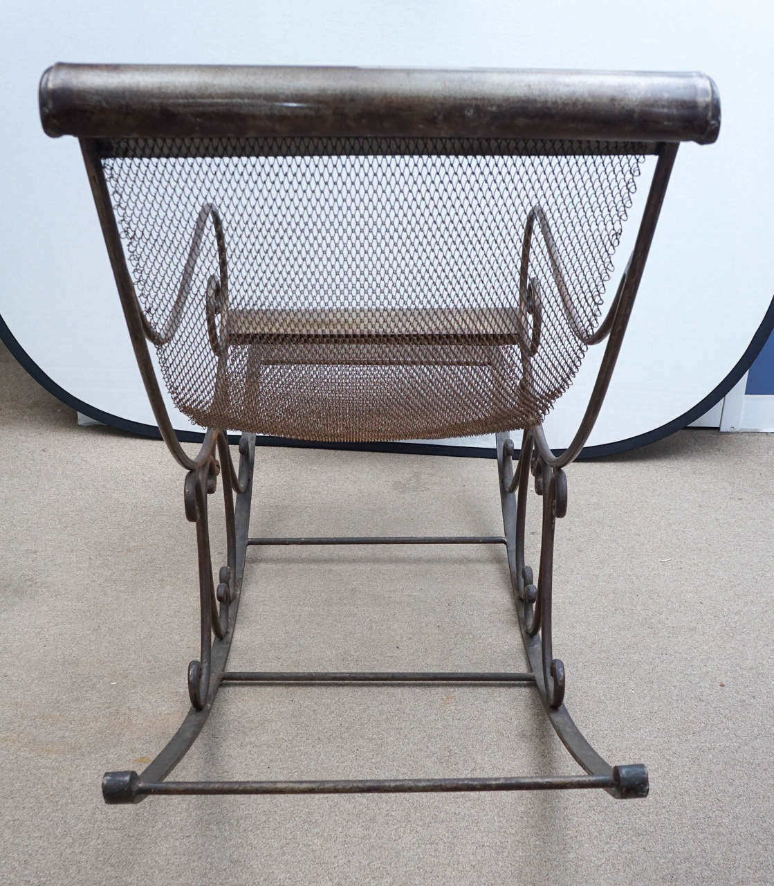 iron rocking chair yellow leather office english at 1stdibs