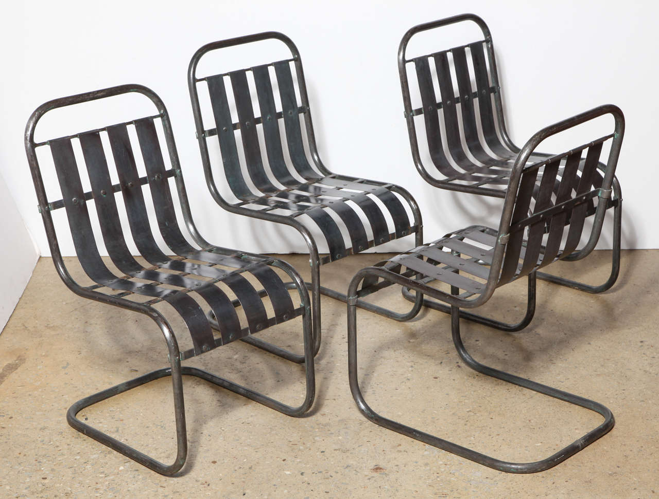 Spring Chair Set Of Four Industrial Steel Spring Rocker Side Chairs Circa 1930