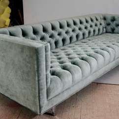 Green Velvet Sofa Couch Klaussner Leather Bed Modern Tufted Tuxedo For Sale At 1stdibs