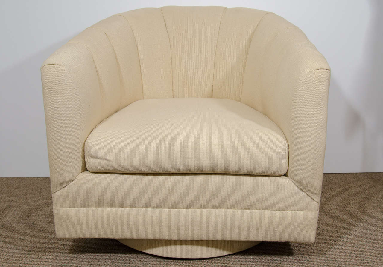 barrel swivel chairs upholstered chair back pillow for bed midcentury pair of by alexvale furniture company a vintage in haitian cotton retains its