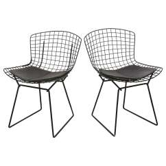 Black Wire Chair Handicap Mobile Chairs Bertoia With Leather Knoll Cushions 1960s Usa At For Sale