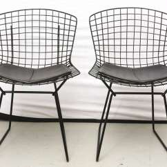 Bertoia Wire Chair Original Pottery Barn Swivel Chairs With Black Leather Knoll Cushions